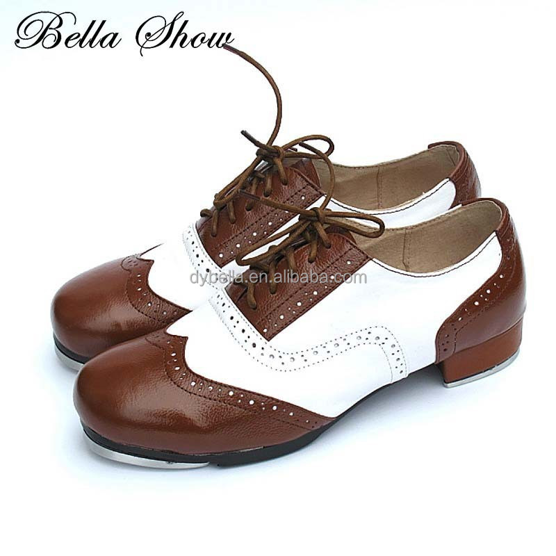 Hot selling splice color vintage stepdance adult genuine leather women shoes unisex fit comfortable tap-dance shoes