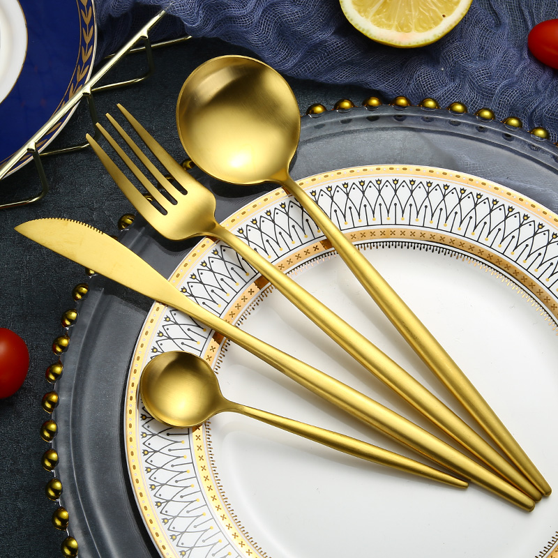 Bulk gold flatware stainless steel cutelry <strong>set</strong>