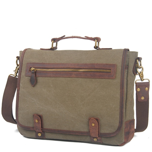 Genuine Leather Cross Body Laptop Messenger Shoulder Bag Washed Canvas Man Handbag