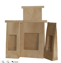 Custom printing food Grade flat bottom brown kraft greaseproof popcorn paper bag for snack food