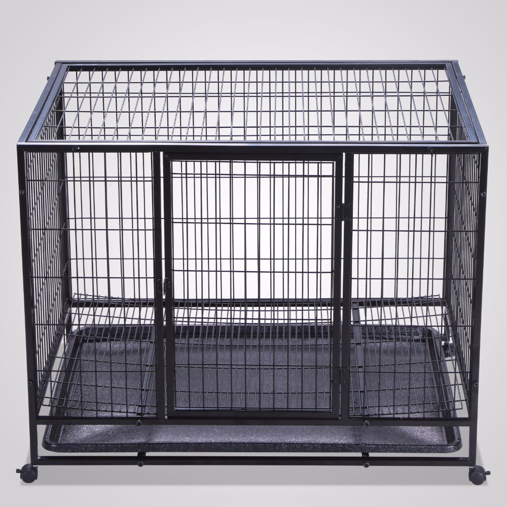 "Heavy Duty Black 37"""" Dog Crate Cage Kennel Metal Wire Pet Playpen w/ Tray"