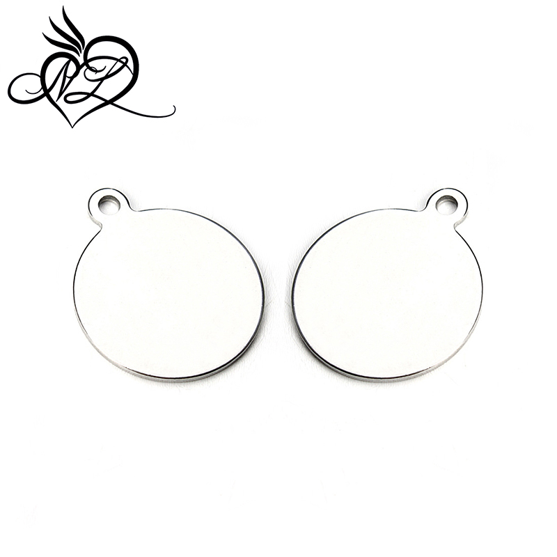 Stainless Steel Mirror Polished Round Disc jewelry charm