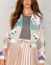 Lady Fancy Beaded Sequin Reflective Evening Bomber Jacket Wholesale HSJ2570