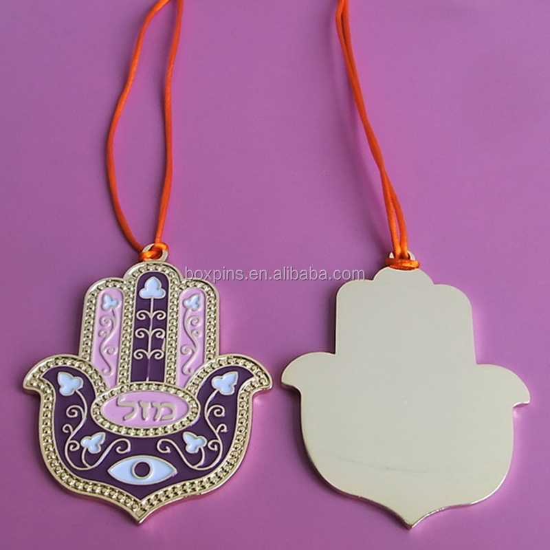 Big Metal Lucky Hand Hamsa and Evil Eye Charm Pendant for Sale