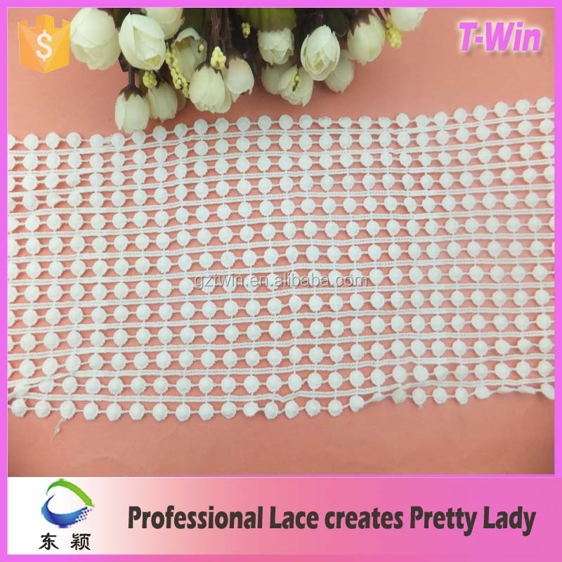 Factory price embroidery designs indian lace trim wholesale/width 17cm chemical milk silk boarded lace trim