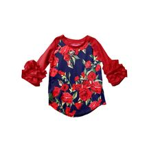 Baby girl short sleeve icing raglan shirts children triple icing ralgan tops ruffle sleeve with flower pattern