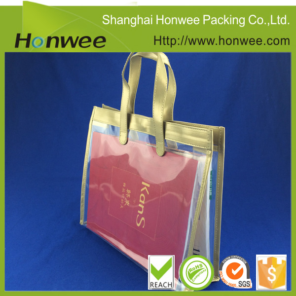 reusable side gusset polyester shopping bag/ transparent plastic handbag