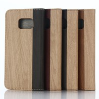 Retro Vintage Wood pattern Leather wallet stand flip Case For Samsung Galaxy S7
