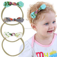 Cute Baby Infant Girl Flower Printing Headband Bowknot Headwear Children Headwraps Rabbit Ears Bow Elastic Hair Band