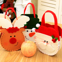 DMl---Wholesale fashion hot sale kid christmas decorate elk snowman christmas gift candy bag
