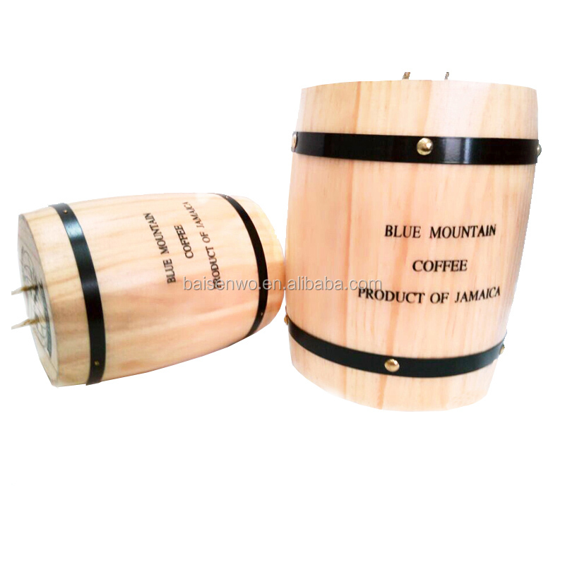 Sweet bucket coffee barrel coffee bean storage barrel <strong>oak</strong> barrels Wooden seal pot Decorative bucket half a pound