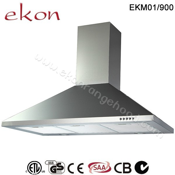 CE CB GS SAA Approved Wall Mounted Stainless Steel Commercial 900mm Kitchen Chimney