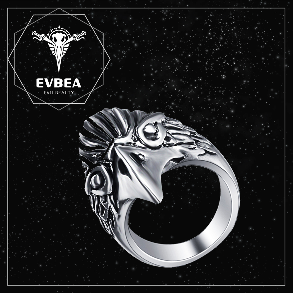 EVBEA indian realistic crystal skull ring