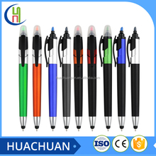 hot selling 2 in 1 stylus touch highlighter pen and ballpoint pen logo pen