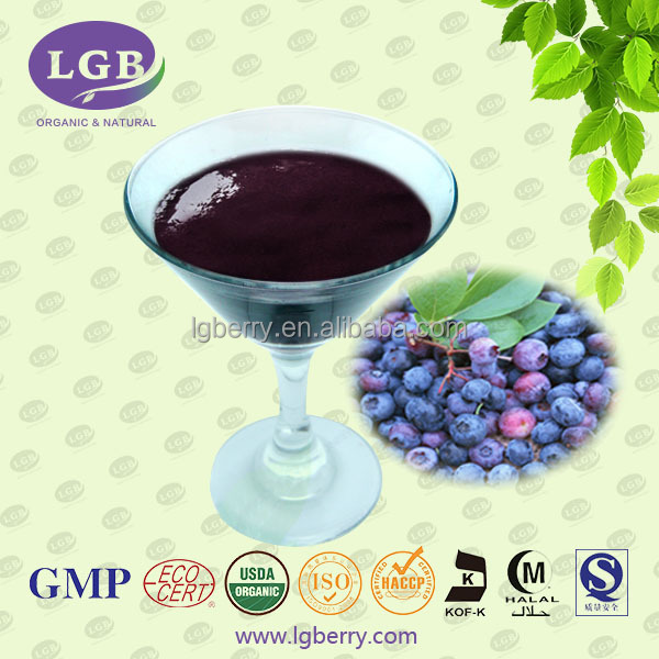 Organic, GMP,ISO,KOSHER,HALAL blueberry juice/100% Pure organic blueberry concentrate