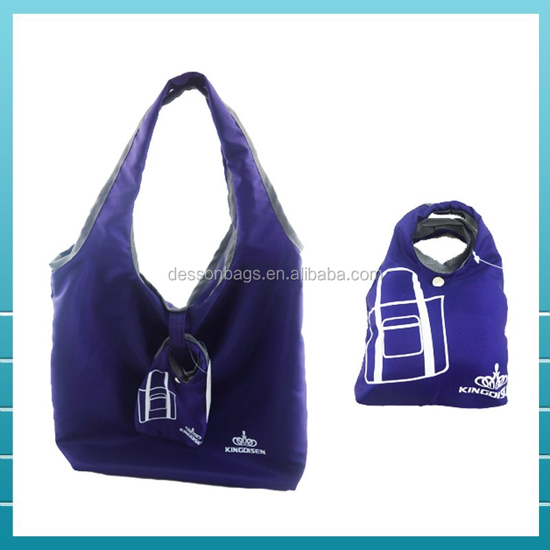 2017 Promotional reusable polyester foldable shopping bag