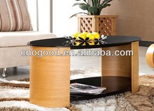 French Style ebony wood table/Glass Table Set S119