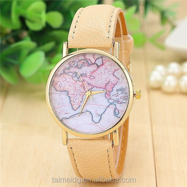 Custom logo world map leather watch