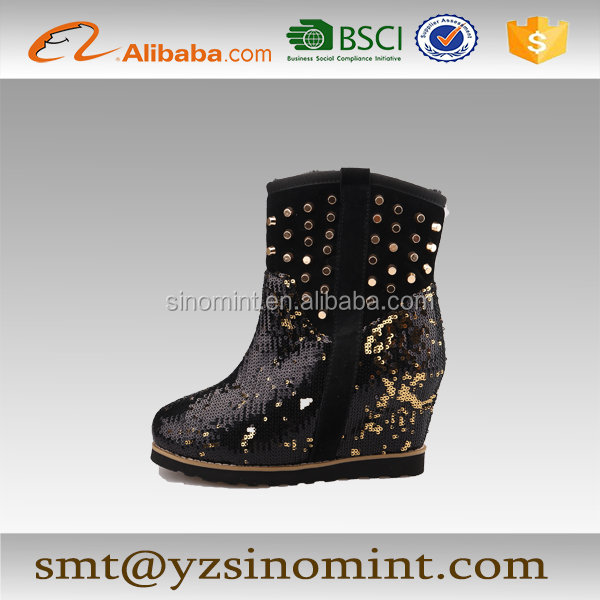 black sequin high heel ankle length boots for women