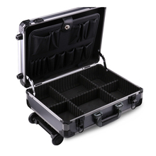Grooming hard aluminum trolley carrying tool case with wheel