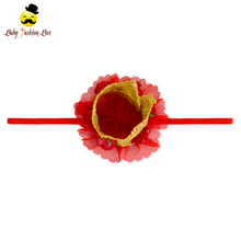 Remake Photo Prop Lovely Kids Birthday Gift Red Lace Floral Tiara Stretchy Band Baby Girl Headband Accessories