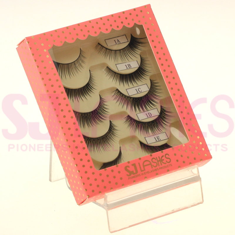 Private Label/ OEM/ Eyelashes Makeup 5 pairs packaging False Eyelashes