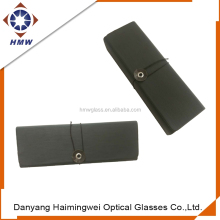 custom PU sunglass case foldable, aluminum glasses case with button & string