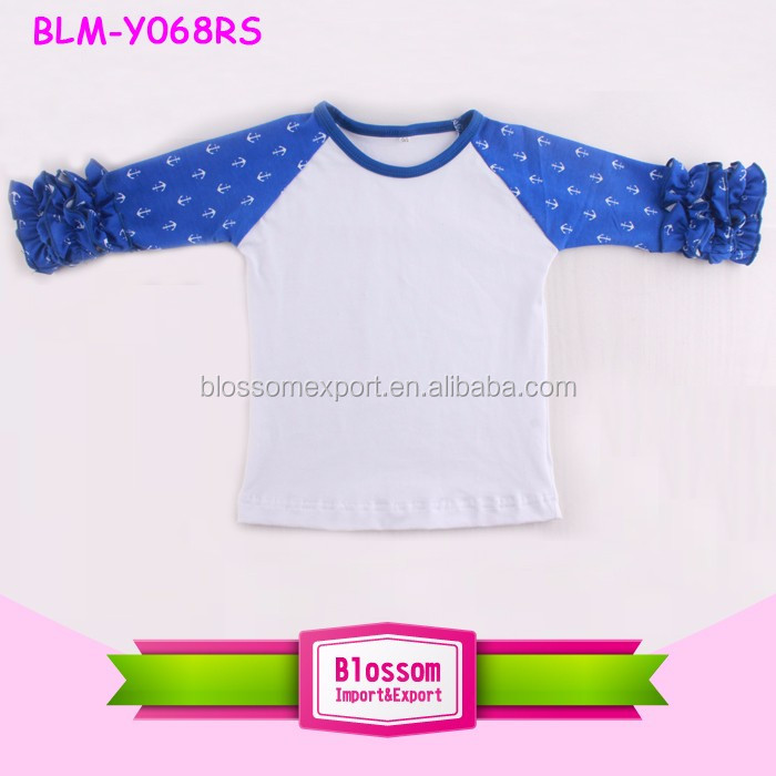 Wholesale Children Clothing USA Baby Baseball Tee Shirts Plaid Raglan T Shirt Toddler Girls Raglan Shirt with Ruffle Sleeve