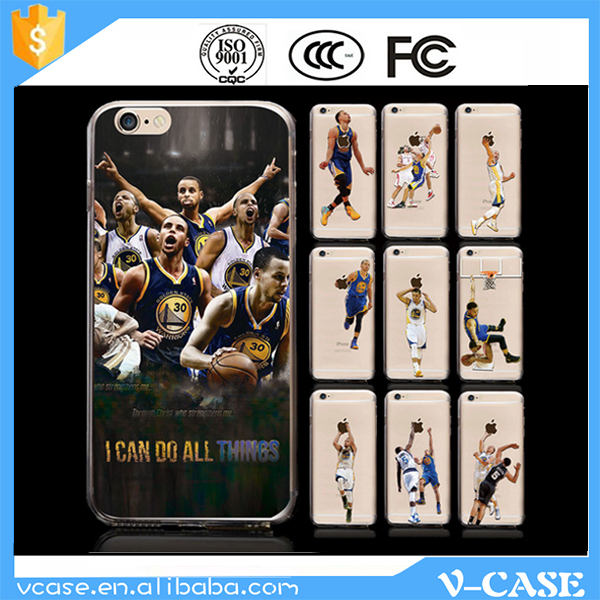 VCASE Basketball player transparent plastic hard clear printed phone case for iphone 6