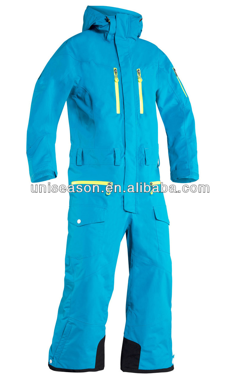 Blue ladies snow suit waterproof one piece snow suit
