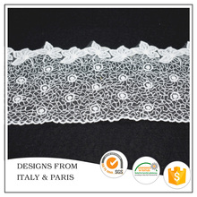 Wholesale 9.5cm White Embroidery Trim Design for Dress