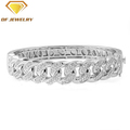 white gold plated 925 silver cz bangle bracelet