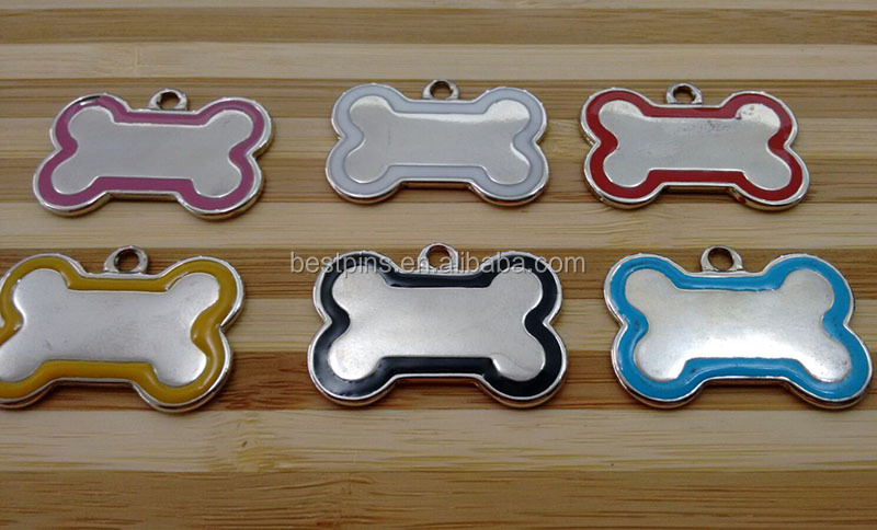 Various of Color Options Stamped Bone Edge Enamel Pet Dog Tag Size in 40*26mm