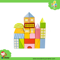 2016 New toy intellgence children educational printing wange wooden building block