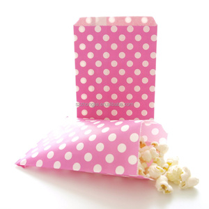 Polka dot paper treat bags,no handle paper treat bags,recycl paper treat bags