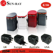 2015 wholesale World Travel Adaptor with USB Port US AU EU UK 150 counties