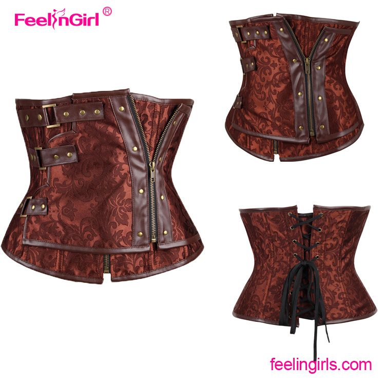 Brown Steampunk Underbust Custom Made Colombian Girdles For Women