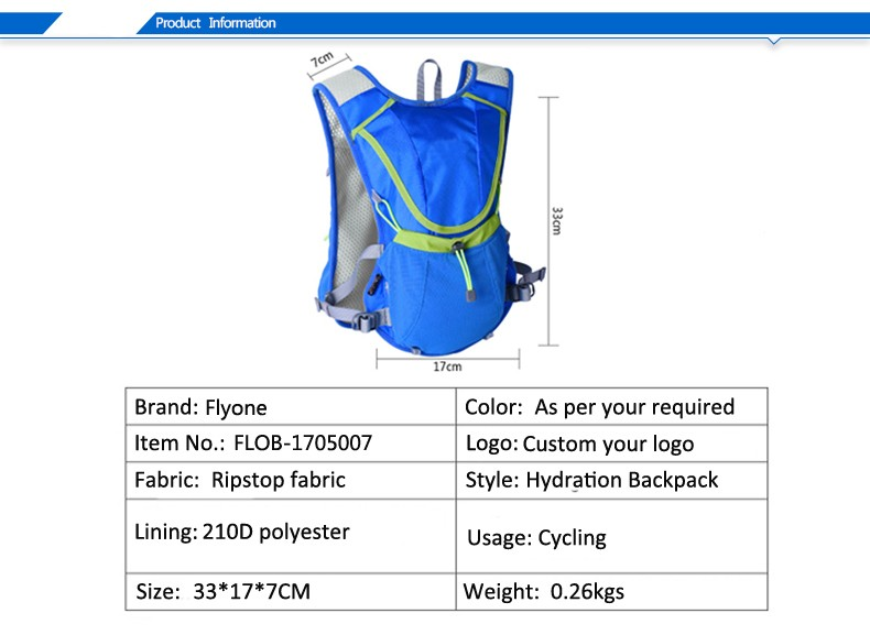 Light Blue Hydration Pack Bladder Backpack Water Bag Hiking Water Bag Camel Bag