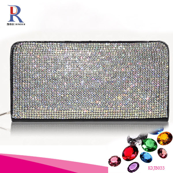 czech crystal element leather material zipper type long shape lady wallet
