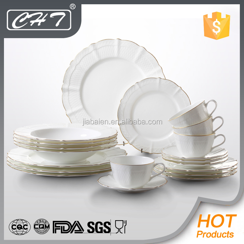 Embossed luxury royal bone china dinner set with gold rim for hotel and restaurant