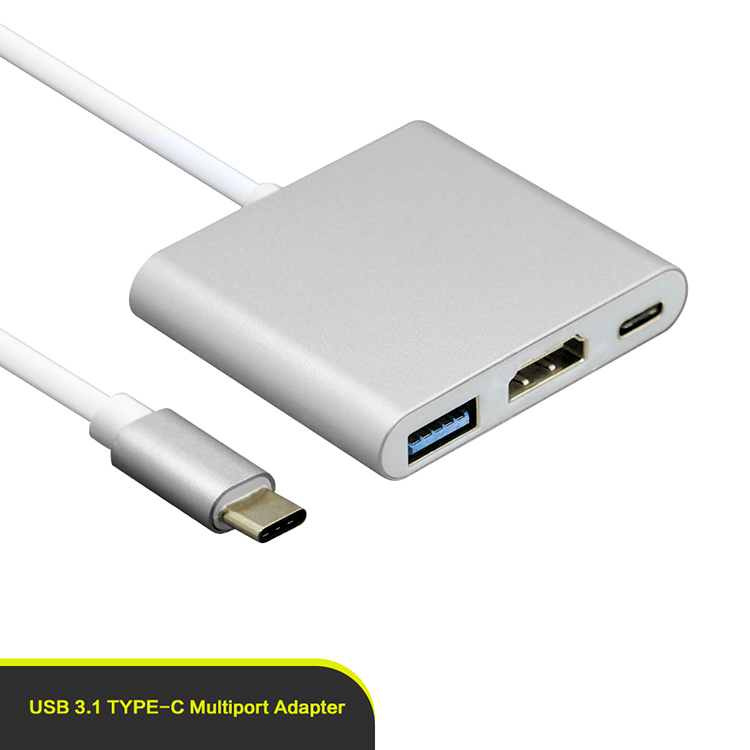 Multi port 3 in 1 adapter type c to VGA usb 3.0 for Macbook in Silver