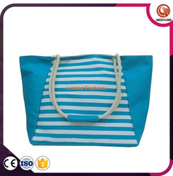 Stripe canvas handbags, promotional canvas beach bag,canvas tote bag with rope handle