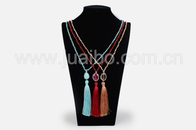 JAB583 fashion tassel necklace bead chain pendant necklace pave rhinestone jewelry