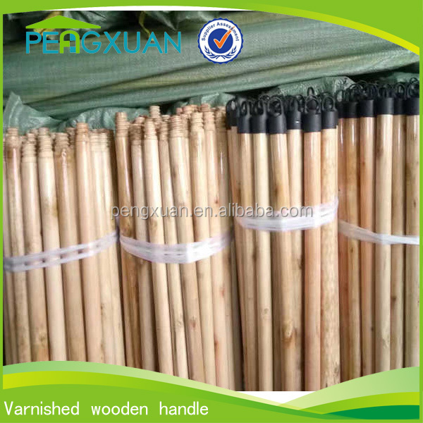 china cheap broom parts Varnished stick wood with America threaded