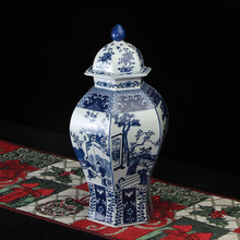 Antique Chinese blue and white home decor large ceramic hat-covered ginger jar