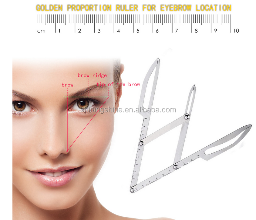 Permanent Makeup Eyebrow Calipers Stencil Design Golden Ratio Ruler Measure NEW