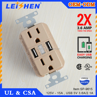 USA USB Wall mounted Socket Multifunctional Wall Outlet Receptacle With 2 Outlets and 2 USB Ports 15-Amp USB Charger