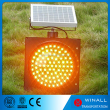 Outdoor traffic road safety solar power led yellow flashing light / red led signal light
