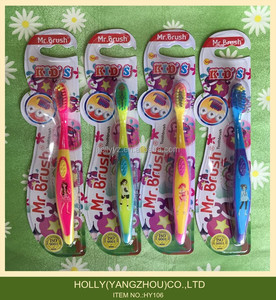 High quality lovely color anti slip handle cartoon baby toothbrush