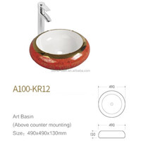 Domo A100-KR12 small Ceramic Gold Hand Wash Basin